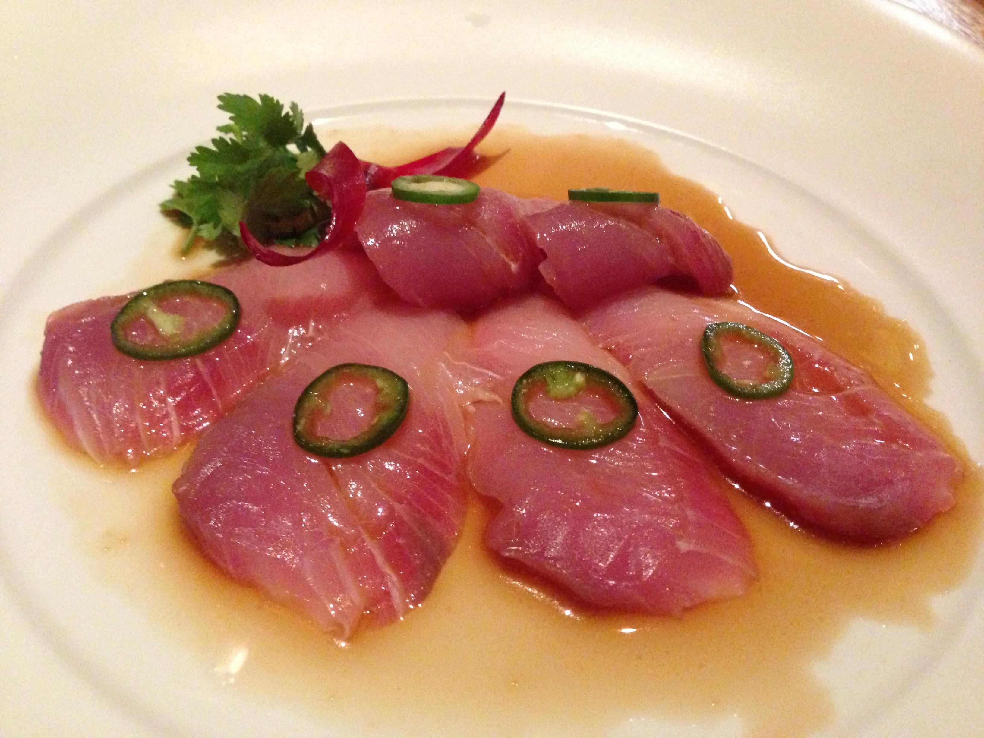 Yellow Tail sashimi with jalapeno