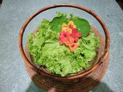 Salada verde com flores comestíveis